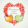 Royalty-Free Stock  : Invitation background. Couple of birdies and the heart-shaped ba