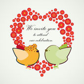 Invitation background. Couple of birdies and the heart-shaped ba — Stock Vector