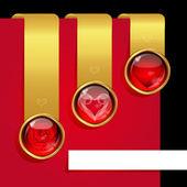 Conjunto de fitas com elementos do simbolismo do amor. — Vetorial Stock