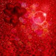 Royalty-Free Stock Imagem Vetorial: Balloons Hearts and stars falling on the shiny red background.