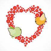 Fundo do convite. casal de passarinhos e a ba em forma de coração — Vetorial Stock