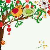 Fundo floral primavera. casal de passarinhos na fanta bloosom — Vetorial Stock