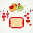 Couple of birdies, hearts on the clothespin and a banner for you — Stock Vector