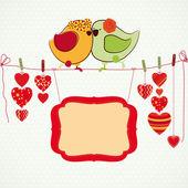 Casal de passarinhos, corações sobre o pregador e um banner para você — Vetorial Stock