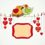několik ptáčky, srdce je clothespin a banner pro vás — Stock vektor