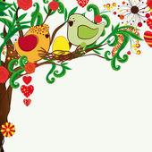 Fundo floral primavera. casal de passarinhos e o bloosom fant — Vetorial Stock