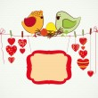 Couple of birdies, hearts on the clothespin and a banner for you — Stock Vector #4971486