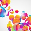 Abstract background with bright circles and teardrop-shaped arch - Stock Vector