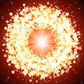 Eps10 vector ster stralend ronde frame op een op een rode achtergrond. — Stockvector
