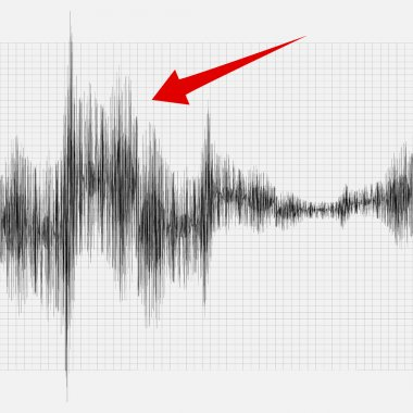Earthquake on the graph of seismic activity.