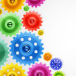 Royalty-Free Stock Vector Image: Techno background with colorful gears. Industrial image.