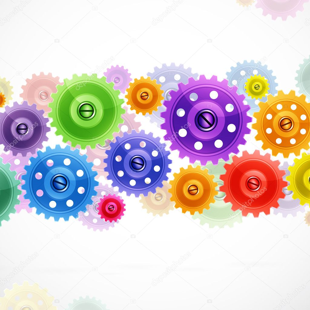 Techno background with colorful gears. Industrial image ...