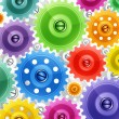 Techno background with colorful gears. Industrial image. — Stock Vector