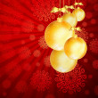Red Christmas backdrop with gold balls. — Stock Vector