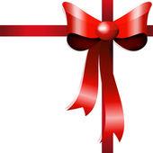 Rode geschenk boog met linten. vector — Stockvector
