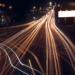 Motion blur of car lights on street at night. — Стоковое фото