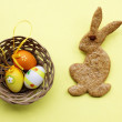 Easter bunny and basket — Stock Photo