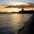 Sunset on Neva - Stock Photo