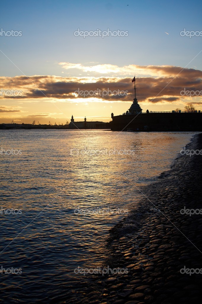 Sunset on Neva river at St.Petersburg  Stock Photo #4395110