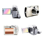 Isolated collage of foto and video cameras — Stock Photo