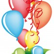 Gift box with balloons — Stockvectorbeeld