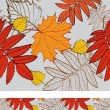 Seamless background with birch, rowan and maple leaves - Stock Vector