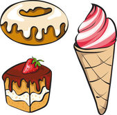 A vector illustration set of sinful looking desserts for the swe — Stock Vector