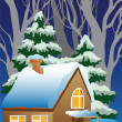 Vector de stock : Vector illustration of snow-covered village.