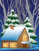 Vector illustration of a snow-covered village. — Stock Vector
