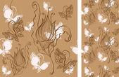 Fondo transparente con flores y mariposas — Vector de stock