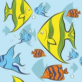 Tropikalne ryby pływać pod wodą. Ilustracja wektorowa. — Wektor stockowy