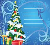Gratulationskort med julgran på abstrakt bakgrund — Stockvektor