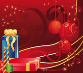 Tarjeta navideña con giftsv — Vector de stock