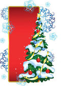 赤い背景の上にクリスマス ツリーとグリーティング カード — ストックベクタ