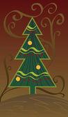 Kerstboom op fantasie achtergrond — Stockvector