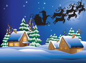 Karla kaplı bir köy vektör çizim. — Stok Vektör