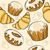 Seamless pattern with desserts — Stock Vector