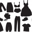 Royalty-Free Stock Vector Image: Silhouettes of women clothes