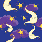 Seamless pattern with half moon and star — Stock Vector
