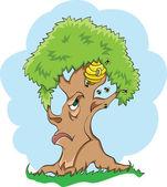 树和蜜蜂 — 图库矢量图片