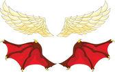 Kanatlı bir melek ve şeytan — Stok Vektör