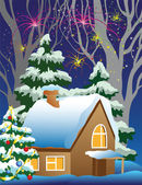 House in the woods in New Year — Stock Vector