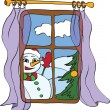Royalty-Free Stock Vector Image: Snowman peeps into the house from the window