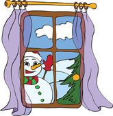 Snowman peeps into the house from the window — Stock Vector