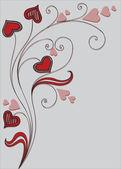 Fondo con planta decorativa y corazones — Vector de stock