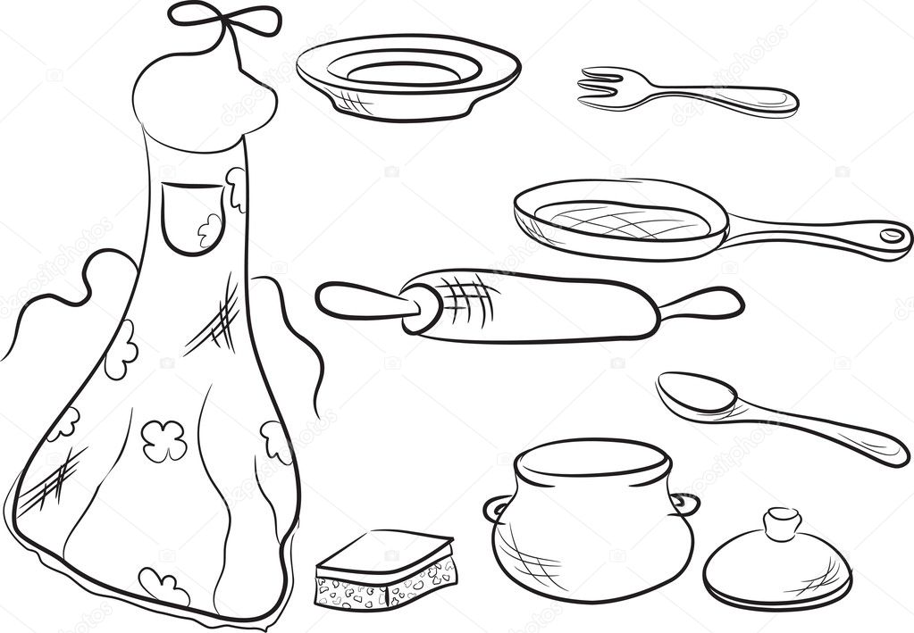 Set of kitchen utensils — Stock Illustration © Tatyana Smirnova #