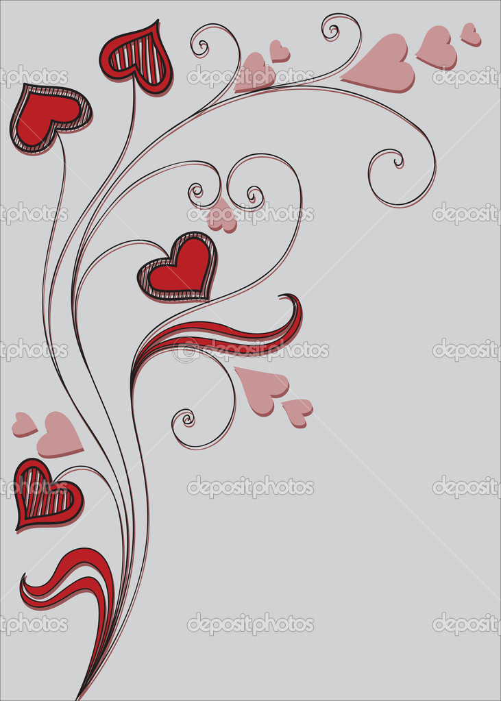 Background with decorative plant and hearts — Grafika wektorowa #4437297