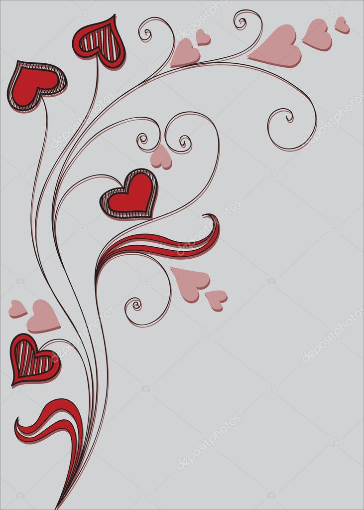 Background with decorative plant and hearts — Stockvectorbeeld #4437297