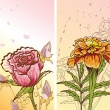 Two pictores with decorative flowers — Imagen vectorial