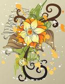 Abstrakt bakgrund med dekorativa blommor — Stockvektor